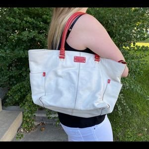 Kate Spade Leather Tote White and Red